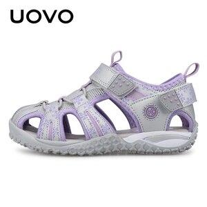 Image 3 - UOVO جديد وصول 2020 الصيف صنادل شاطئ الاطفال مغلق تو طفل الصنادل الأطفال موضة أحذية مصممين للفتيات #24 38