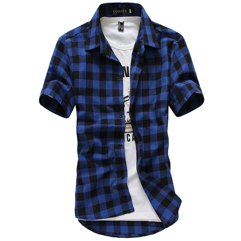 Hot Multicolor Plaid Shirt Spring And Summer Camisas Men Deep Blue Shirt Summer Chemise Mens Shirts Short Sleeve Grid Shirt B004