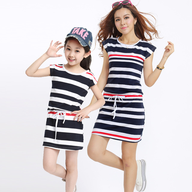 Mom and kids Mother Daughter Dresses 2017 Striped Dress for Girls and Women Summer Cotton Dress Girls Vestidos Family Clothing