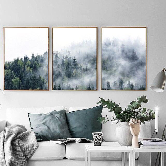 Туманный лес Mountain холст картины туман фото дикое дерево Пейзаж Плакат и печати для Гостиная скандинавский Декор для дома
