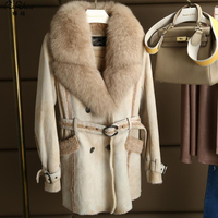 Winter Women's Double faced Fur Real Lamb Fur Kid Suede Coats Natural Fox Fur Collar Long Jacket The Coat Promotion 180629 1