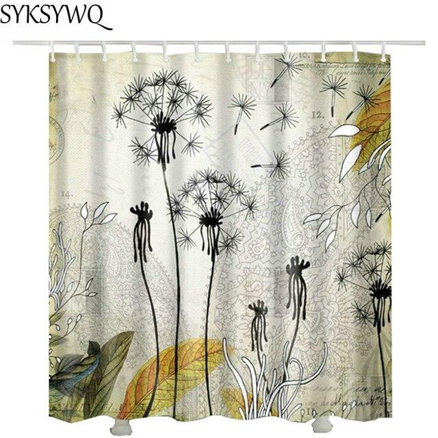 Dandelion Shower Curtain 3d Printed Zaslona Pryznicowa 2018 New Design Drop Shipping Waterproof Fabric Flower Bath