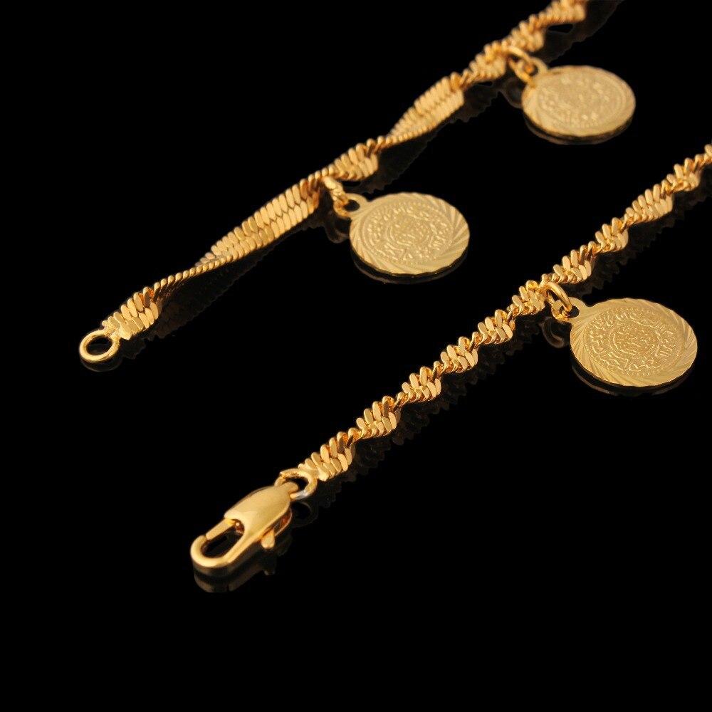 63aaf0c01 الذهب اللون عملة أساور النساء الرجال هدايا الأزياء والمجوهرات 21 سنتيمتر 11  ملليمتر رابط سلسلة أساور