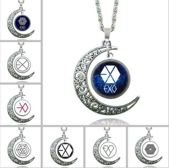 2018 Fashion silver Moon necklace brand EXO statement Star Glass pendants necklace Collares Maxi gift for Women jewelry DROP