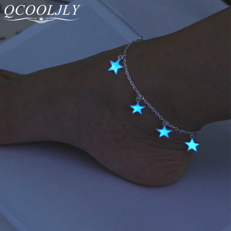 VINTAGE Luminous Beach ข้อเท้าเท้าข้อเท้า Shellhard แฟชั่นเครื่องประดับ Charming GLOW In The Dark Star Heart ข้อเท้าสร้อยข้อเท้าสร้อยข้อมือ