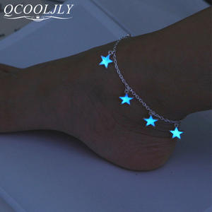 Foot-Chain Jewelry Charming Ankle-Bracelet Heart-Anklet Shellhard Vintage Glow-In-The-Dark