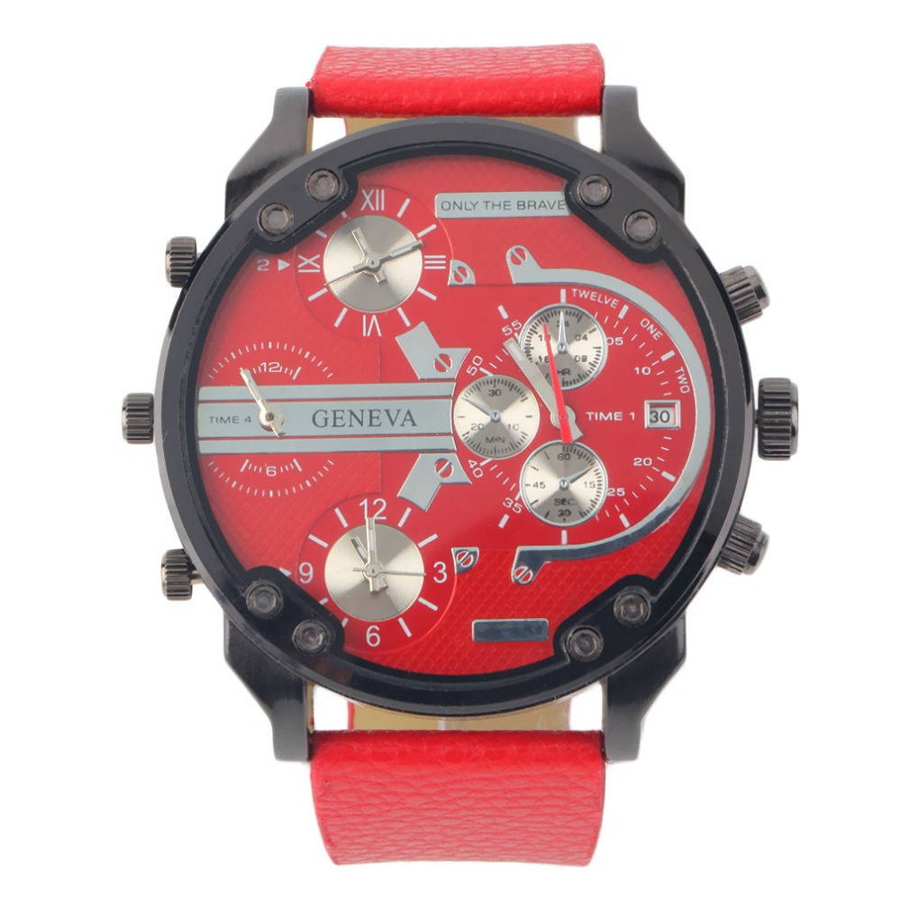JUBAOLI Super Large Round Classic Quartz Analog Watch Mini Sub Dials PU Band Sports relogio feminino New Hot Selling тонарм scheu analog scheu classic mkii 10