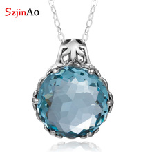 Szjinao Aquamarine Necklace Pendant Stone Real 925 Sterling Silver Gemstone Pendant For Women Fine Jewelry Vintage Handmade Gift