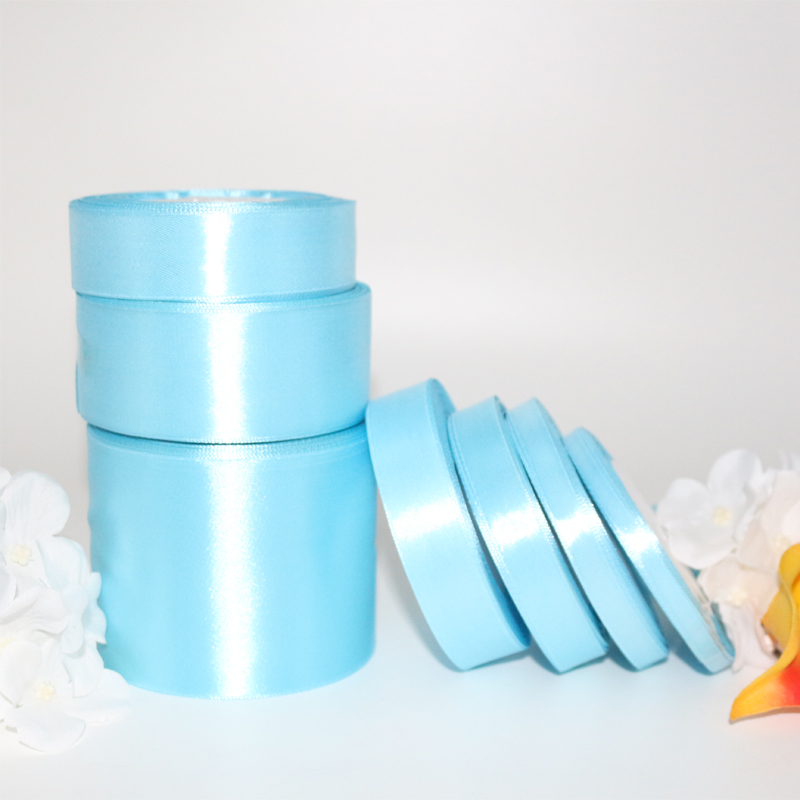 25 Yards About 22 M Roll Sky Blue Silk Fabric Satin Ribbon For