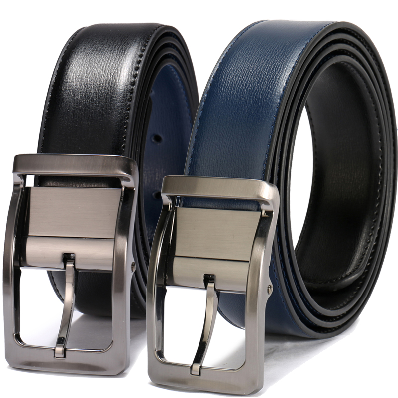 Newest Designer Reversible Belt Men Genuine Leather Double Face Belt Rotatable Buckle Belts For Men Cinturones Hombre
