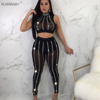 RLMABABY Sexy Diamond 2 Piece Set Mesh Jumpsuit Slim Sleeveless Perspective Bodycon Rompers Womens Jumpsuit Night Club Overalls