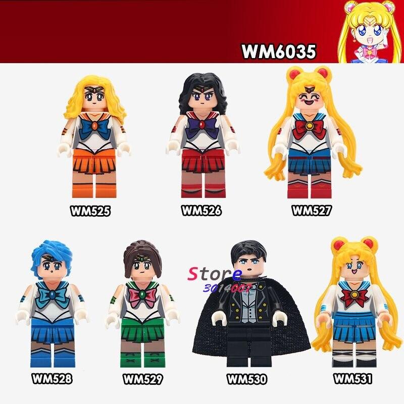 Singolo Cartone Animato Comico Giapponese Del Fumetto di Sailor Mars Moon Mercury Giove Chiba Mamoru Sailor Venus building block giocattolo per i bambini