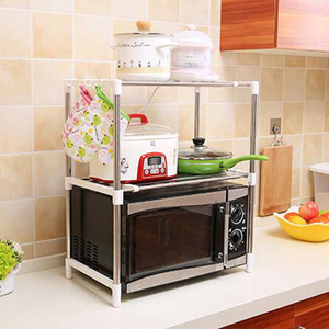 Image 5 - Shuang Qing Verstellbare Edelstahl Mikrowelle Regal Abnehmbare Rack Küche Geschirr Regale Home Storage Rack 7009