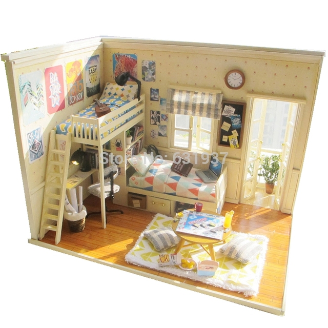 Free Diy Handmade Wooden Toys Miniature Doll House Assembling Model Birthday Gifts Dollhouse Toy Dollhouses-I and my friends