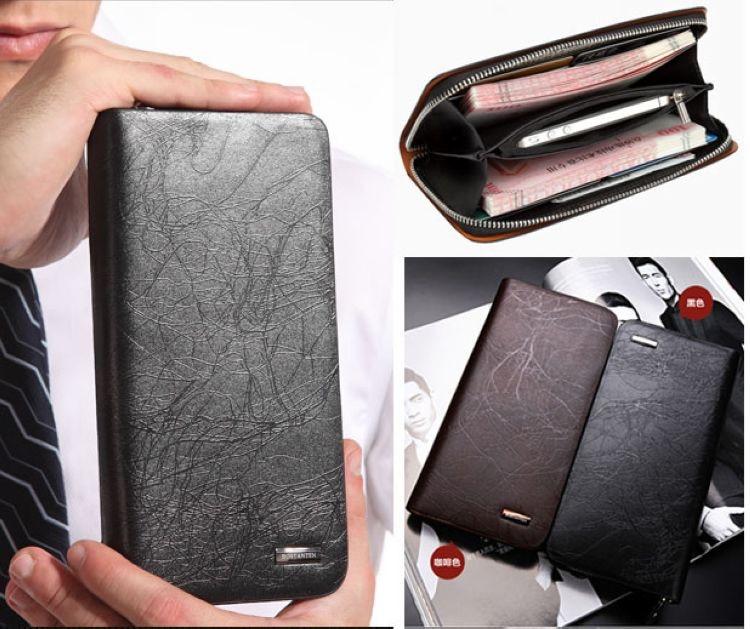 BOSTANTEN 2014 New Men's Fashion Genuine Leather Casual Zipper Large capacity Long Design Cowhide Wallet Hand Bag Clutch Purse туфли px1507 2014 tarokko zipper ayumi