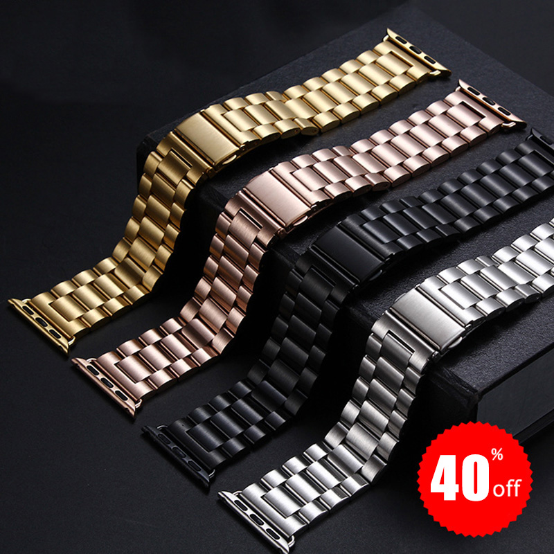 Stainless Steel Watchbands For IWatch Apple Watch Band Strap Link Bracelet Accessories 38mm 42mm Classical Lock With Adapter