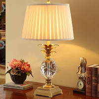 Роскошная хрустальная стеклянная настольная лампа в форме ананаса металлическая прикроватная настольная лампа Lamparas De Mesa книга лампы Deco