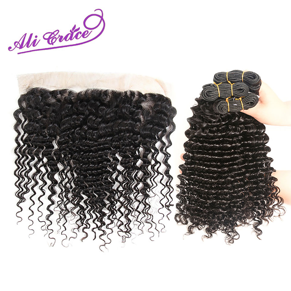 Ali Grace Hair Peruvian Deep Wave With Closure 3 Bundles With 13 4 Free Part Middle