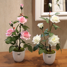 Simulation Rose Silk flowers Potted set  Artificial green plants Small bonsai decoration pot culture wedding Home Decor hydrangea simulation small bonsai set ornaments raw silk qiu ju ceramic vase artificial flowers decoration pot living area meal