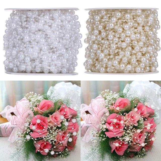 10 Meterslot Beige White Wedding Decoration Artificial Pearls Beads