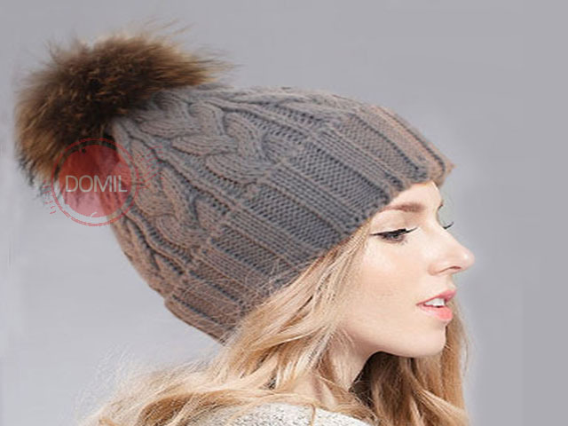 Women Stylish Winter knitting Hats bobble hat Removable Raccoon Fur Ball  Top Womens Beanie Hat Warm Winter Hat ZKD-105042 b38ce9a2411