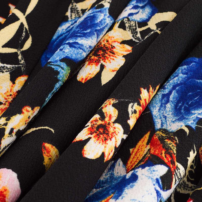 Vrouwen Vintage Bloemenprint Feestjurk Werk Elegante V-hals Kantoor A-lijn Skater Jurk EA085
