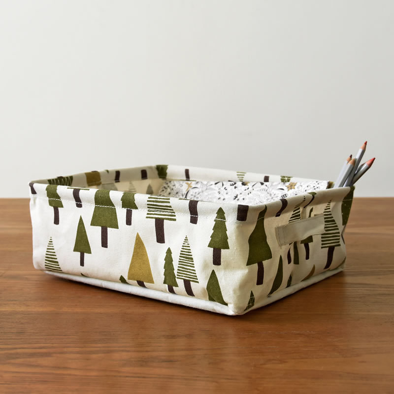 Stamp cotton linen belt carrying hand desktop debris collection basket cabinet small clothing cloth storage basket <font><b>0682</b></font> image