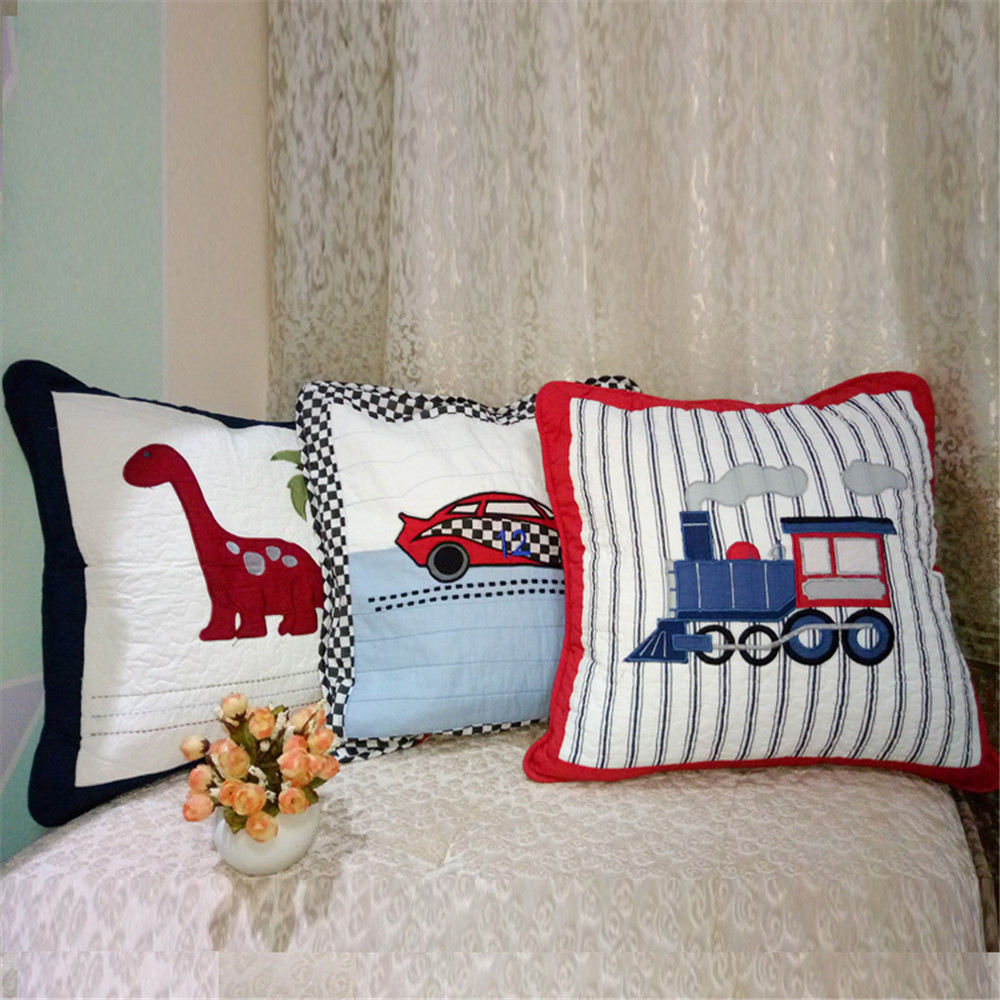 <font><b>50x50</b></font> CM Cartoon Car Patchwork <font><b>Cushion</b></font> <font><b>Cover</b></font> Children Kids Room Embroidery Pillowcase Home Decorative <font><b>Cushions</b></font> Sofa Bed Pillow image