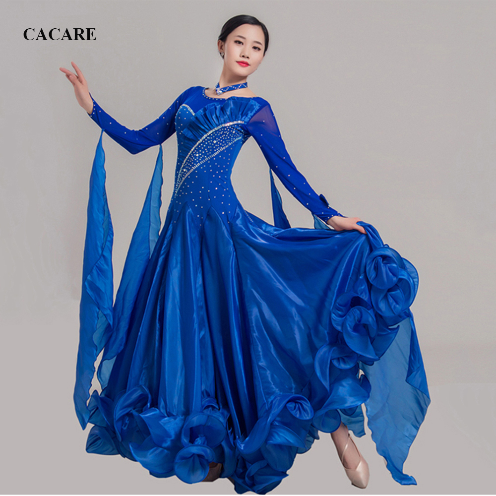 Ballroom Waltz Dresses Dance Competition Dresses Ballroom Dress Standard Customized Size D0455 Long Sleeve 11 Colors Big Hem