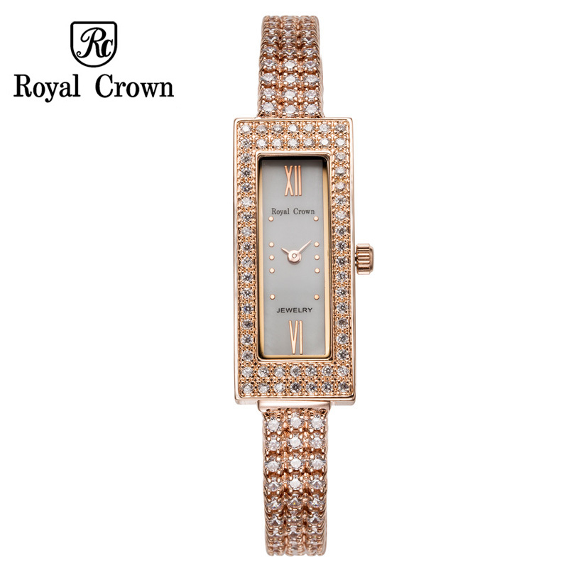все цены на Luxury Prong Setting Women's Watch Fine Fashion Hours Mother of Pearl Bracelet Rhinestone Crystal Girl's Gift Royal Crown Box