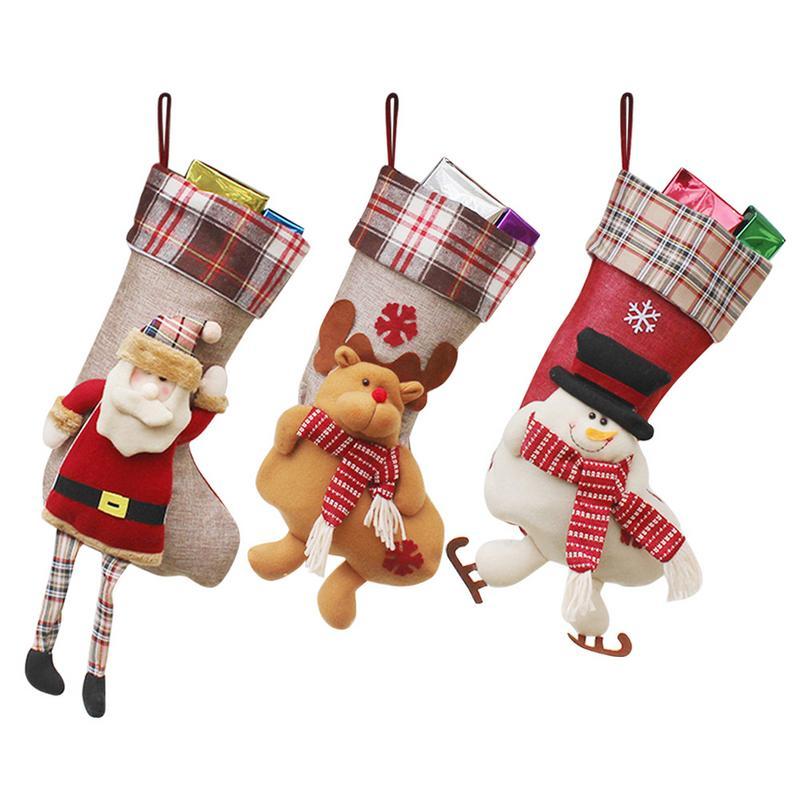 Christmas Sock Gift Bag Christmas Tree Window Decoration Hanging Ornaments
