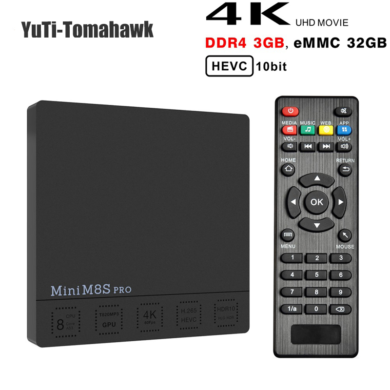 Mini M8S PRO C DDR3 2GB 16GB Smart Android 7.1 TV Box Amlogic S912 Octa Core 2.4/5G Wifi H.265 Set-Top Box 3GB 32GB DDR4 mini pc 10pcs vontar x92 3gb 32gb android 7 1 smart tv box amlogic s912 octa core cpu 2 4g 5g 4k h 265 set top box smart tv box