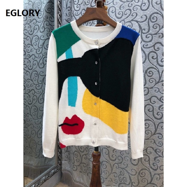 High Quality Cardian Jackets 2019 Spring Summer Fashion Sweater Cardigan Women Sexy Red Lips Print Knitted Casual Cardigan Coats