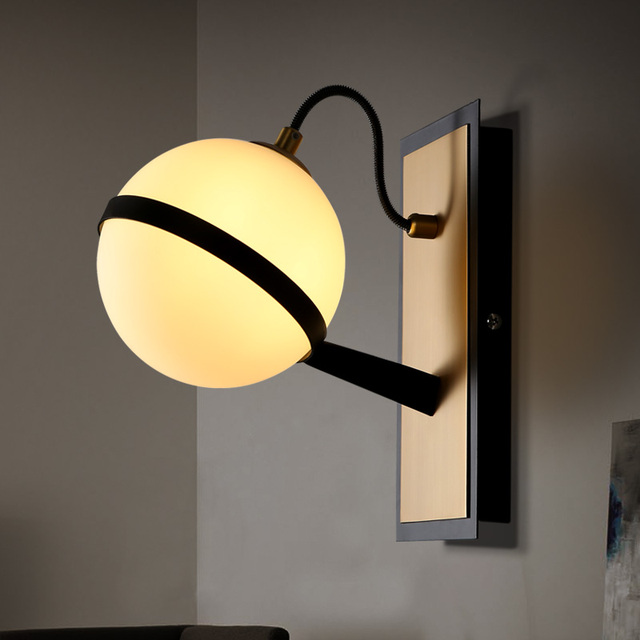Retro Frosted Glass Ball Sconce Wall Lamp Light