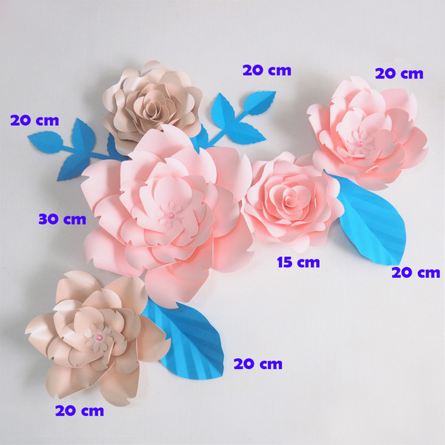 Aliexpress buy diy giant paper flowers artificial rose fleurs diy giant paper flowers artificial rose fleurs artificielles backdrop 5pcs 4 leave wedding party decor nursery mightylinksfo