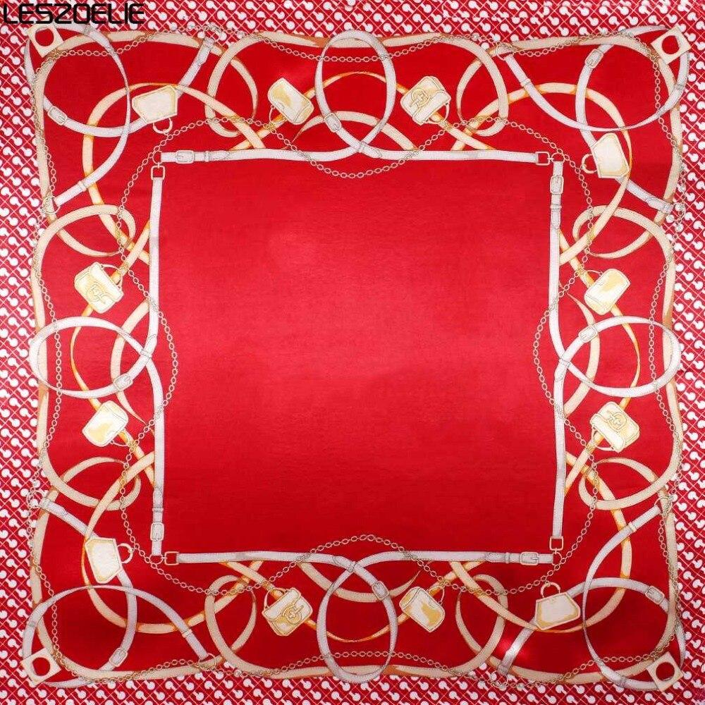 90cm*90cm Fashion   Scarf   For Women Floral Print Hijab Silk Shawl Brand   Scarf   Foulard Square   Scarves     Wraps   For Ladies 2019