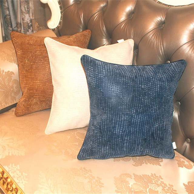 Cushion Cover Postmodern Throw Pillows Soft Leather flocking fabric