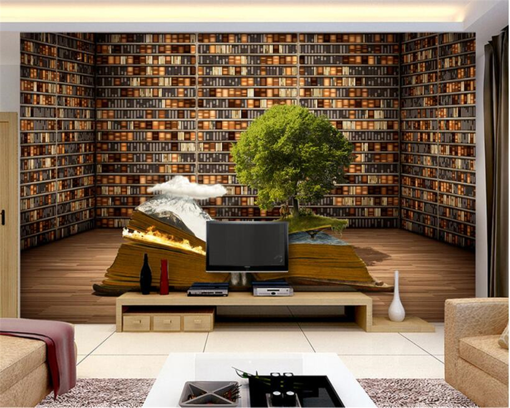 Beibehang Custom photo wallpaper 3D large mural book bookcase book house background 3d mural wallpaper painting papel de parede book knowledge power channel creative 3d large mural wallpaper 3d bedroom living room tv backdrop painting wallpaper