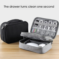Travel Electronic Accessories Cable Organizer Bag Portable Case SD Cards Flash Drives Wires Earphones Double Layer