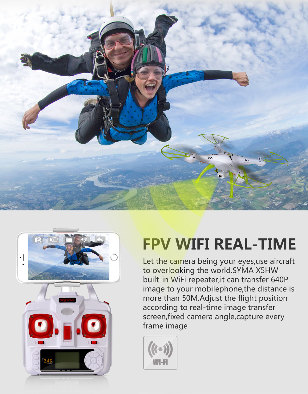 X5HW Camera Drone Quadrocopter Wifi FPV HD Real time 2 4G 4CH RC Helicopter Quadcopter RC