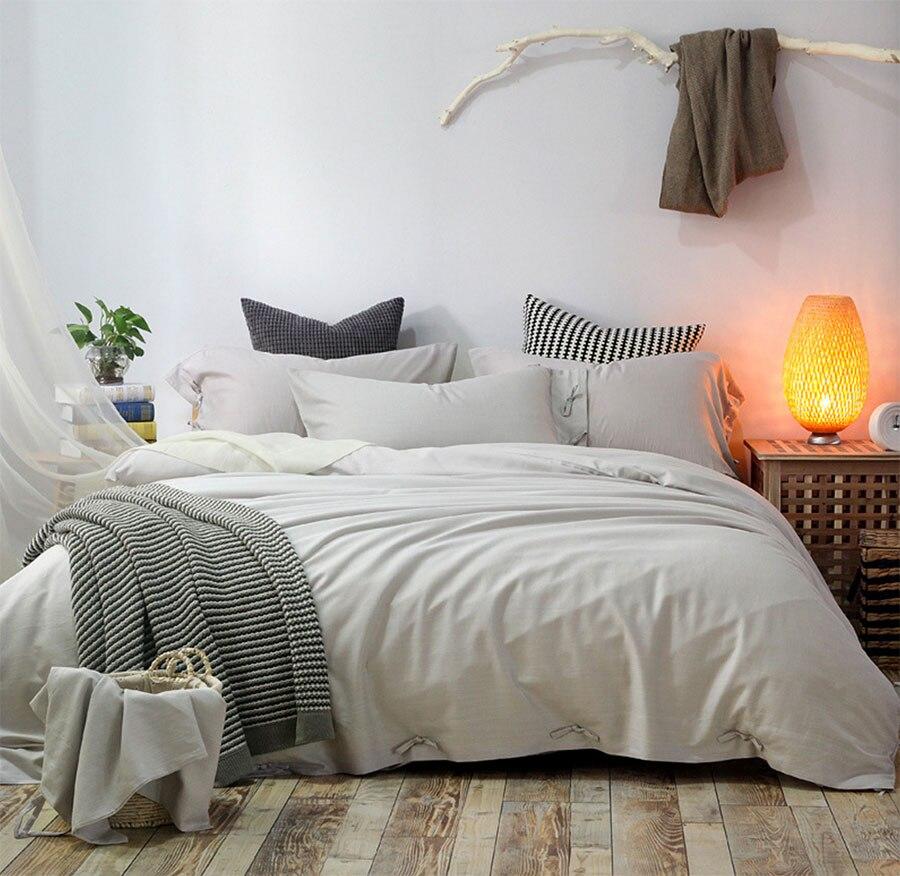 Breve color sólido juego de cama niño, completo queen rey lino tencel, cómodo do