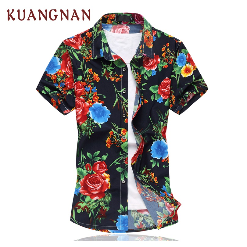 2018 Summer New Red Floral Casual Shirt Men Short Sleeve Camisa Masculina Male Hawaiian Shirt chemise homme manche court 5XL