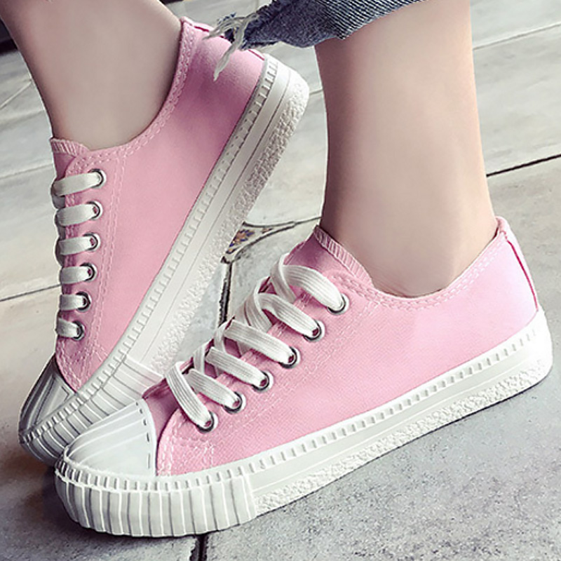 Women casual shoes solid shallow simple style canvas sneakers for girls flat non-slip flat shoes 2018 fashion spring 1