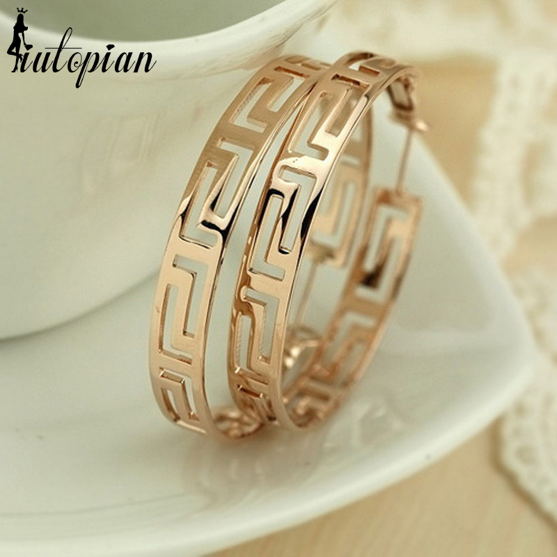 Iutopian Fashion Jewelry Classic Geometric Style Hoop Earrings Rose Gold Color Top Quality Wholesale Environmental Jewelry