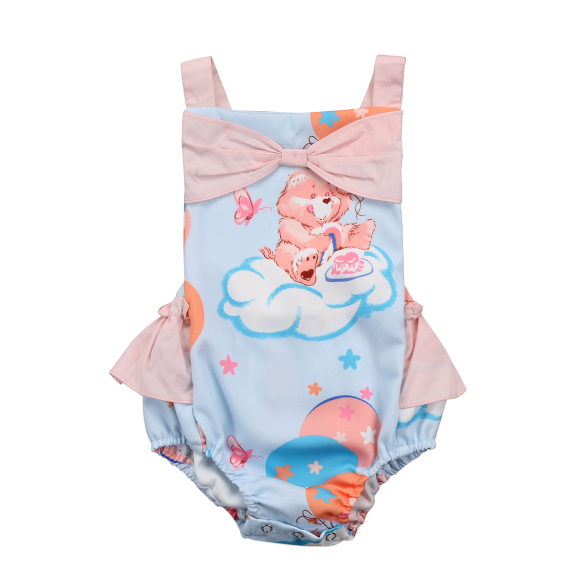 Mother & Kids Infant Kids Baby Boy Girl Butterfly-knot Bear Print Drawstring Covered Button Tops Clothes Jumpsuit Bodysuit Outfits Bodysuits