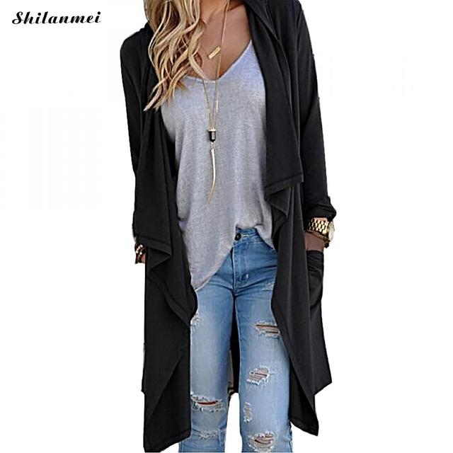 d1337ac9d5 Womens Casual Open Front Long Sleeve Cardigan Sweater with Pocket Solid  Lightweight Knitted Casual Long Trench Coat Cardigans