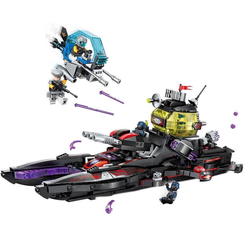 675pc kinderen educatief bouwstenen speelgoed Compatibel Legoingly stad Technologie era black shark cruiser schip cijfers Baksteen-in Blokken van Speelgoed & Hobbies op  Groep 1