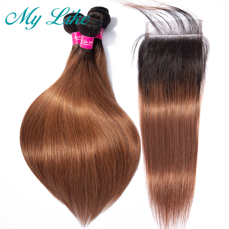 My Like Ombre Indian Straight Human Hair <font><b>Bundles</b></font> <font><b>with</b></font> Lace <font><b>Closure</b></font> <font><b>1B</b></font>/<font><b>30</b></font> Colored 3 <font><b>Bundles</b></font> <font><b>with</b></font> <font><b>Closure</b></font> <font><b>1b</b></font>/99j NonRemy Hair image
