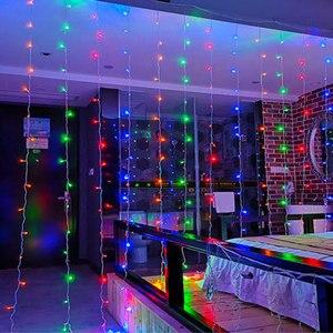 Image 2 - Natal de Ano Novo LED String Cortina 8 Modo IP 44 18 3X3 Metros À Prova D Água 110 v 220 v w Cooper Interior Iluminação Da Decoração Do Feriado