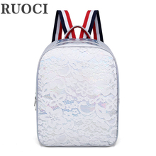 RUOCI 패션 레이스 홀로그램 여름 캔디 컬러 여자 배낭 레이저 학교 가방 청소년 여자에 대 한 새로운 캐주얼 여성 여행 가방
